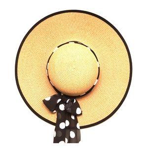 Straw hat with polka dot wrap